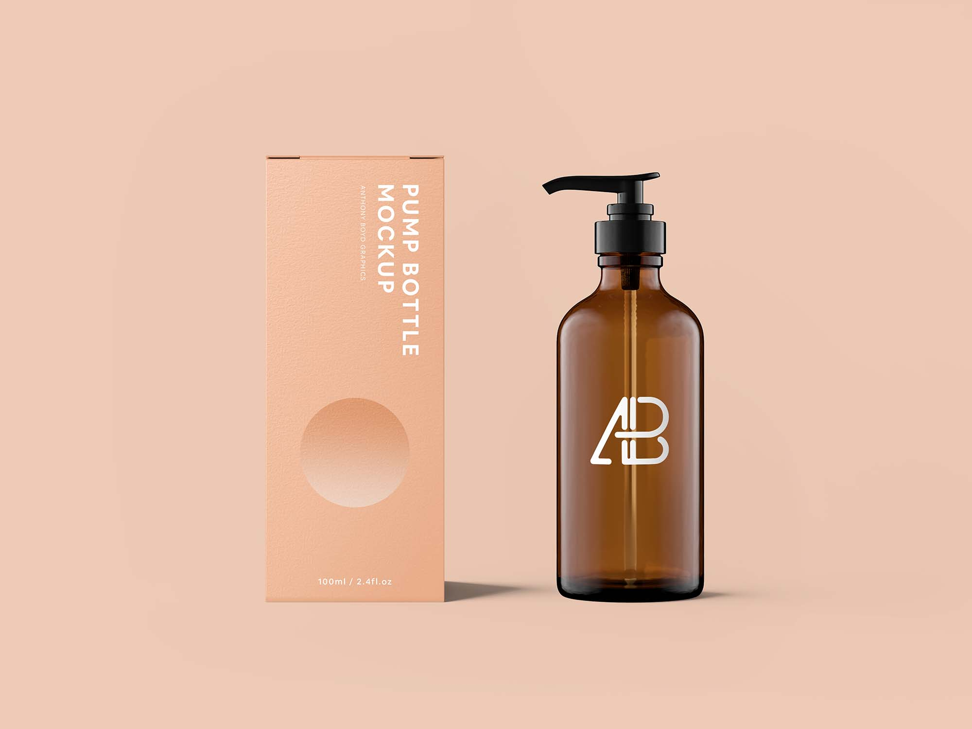 Pump Bottle With Box Mockup 2