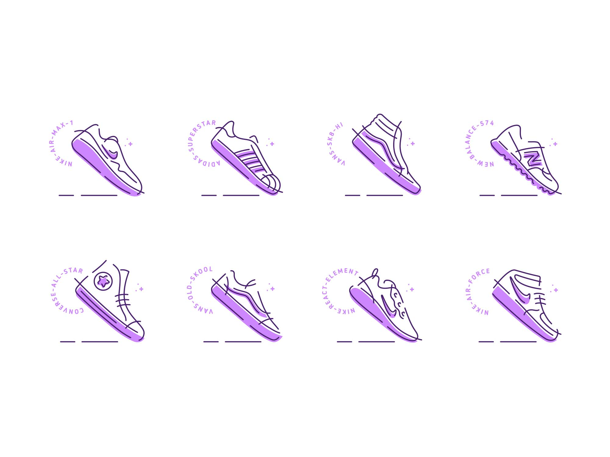Sneakers Vector Icons 2
