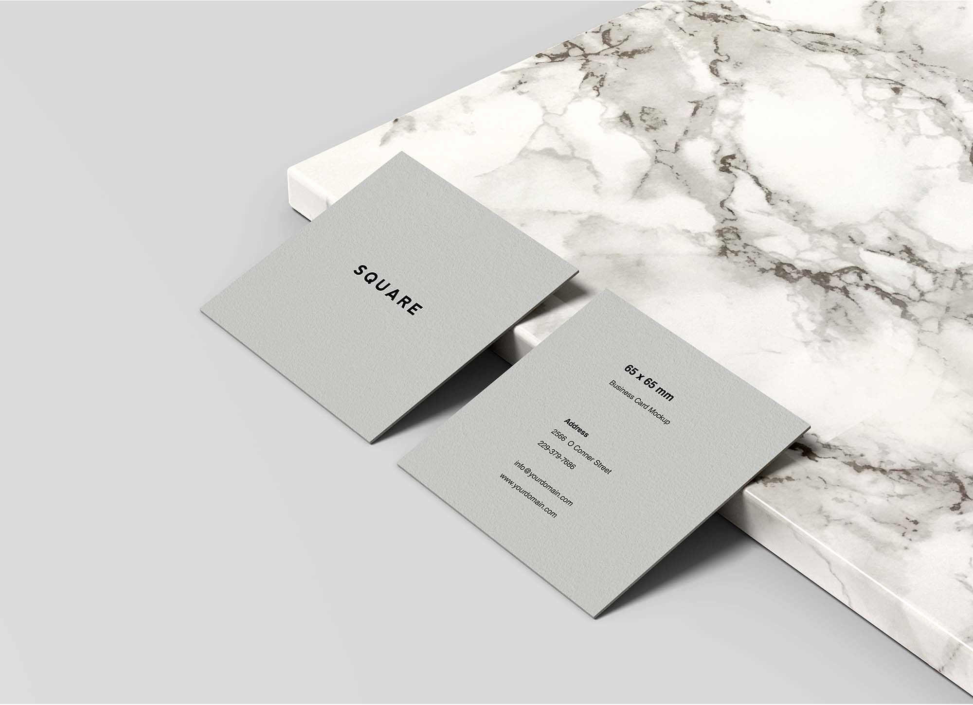 Square Business Card Mockup 2
