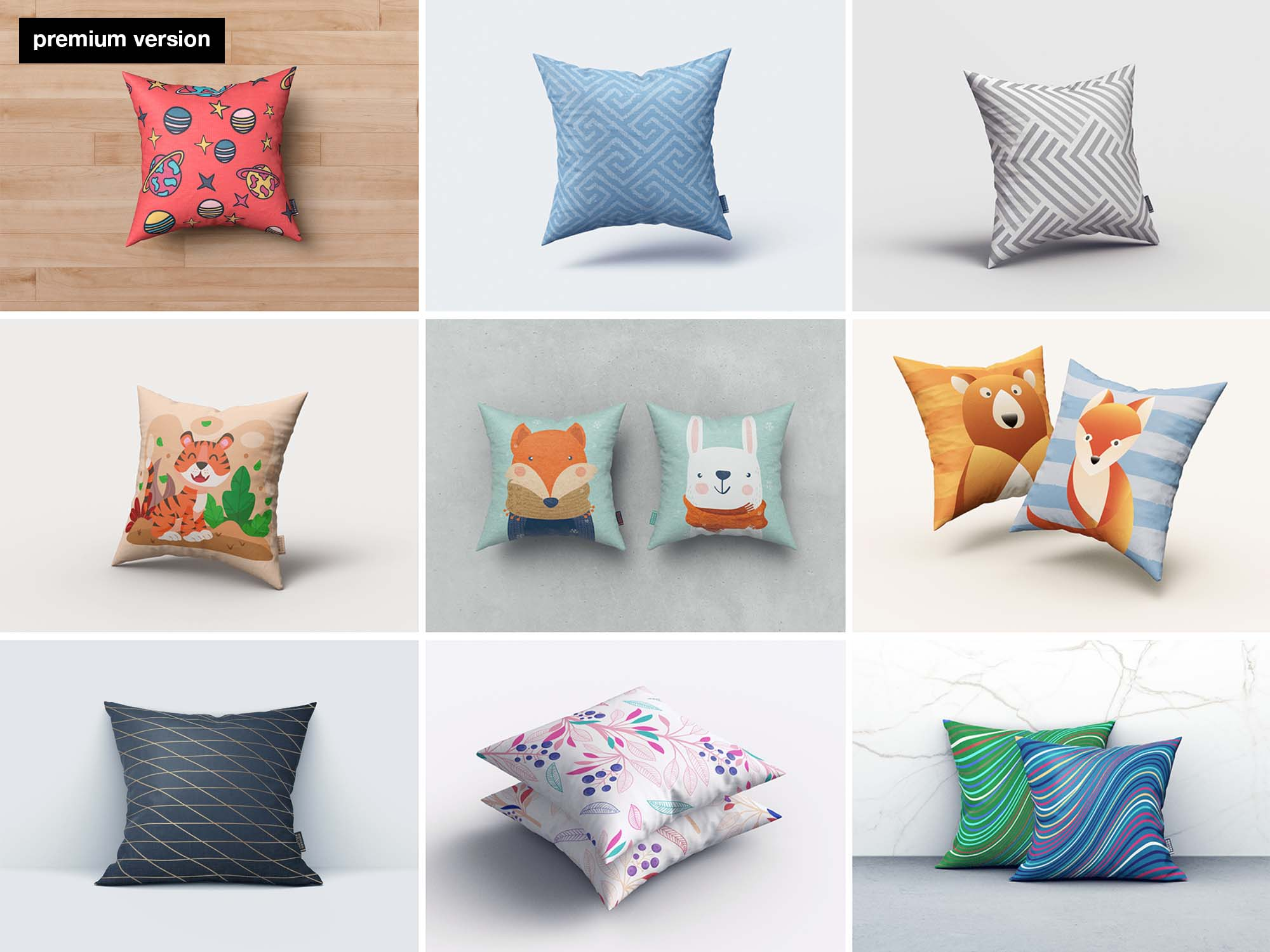 Square Pillow Mockups - Premium Version