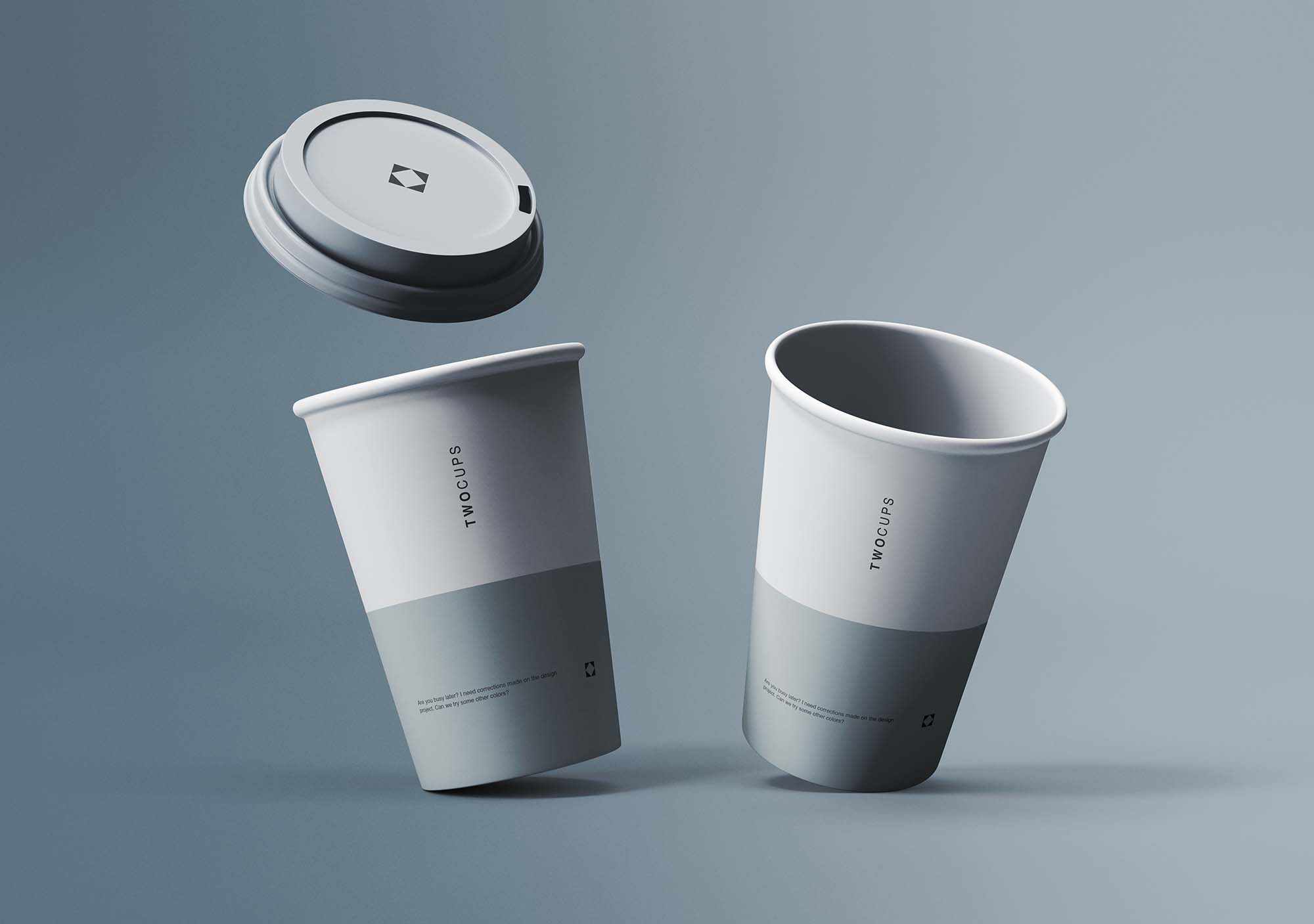 Two Disposable Coffee Cups Mockup 2