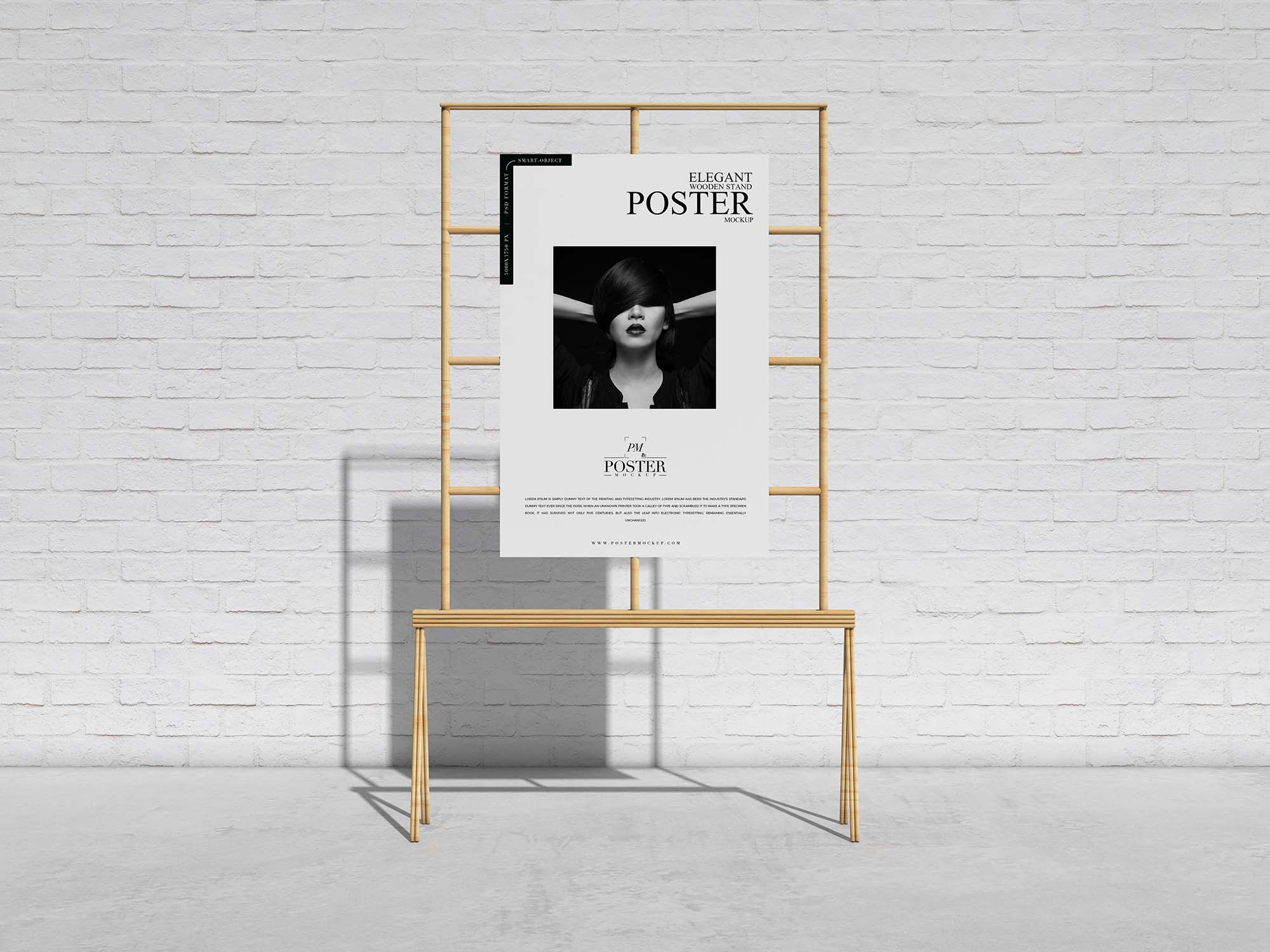 Wooden Stand Poster Mockup