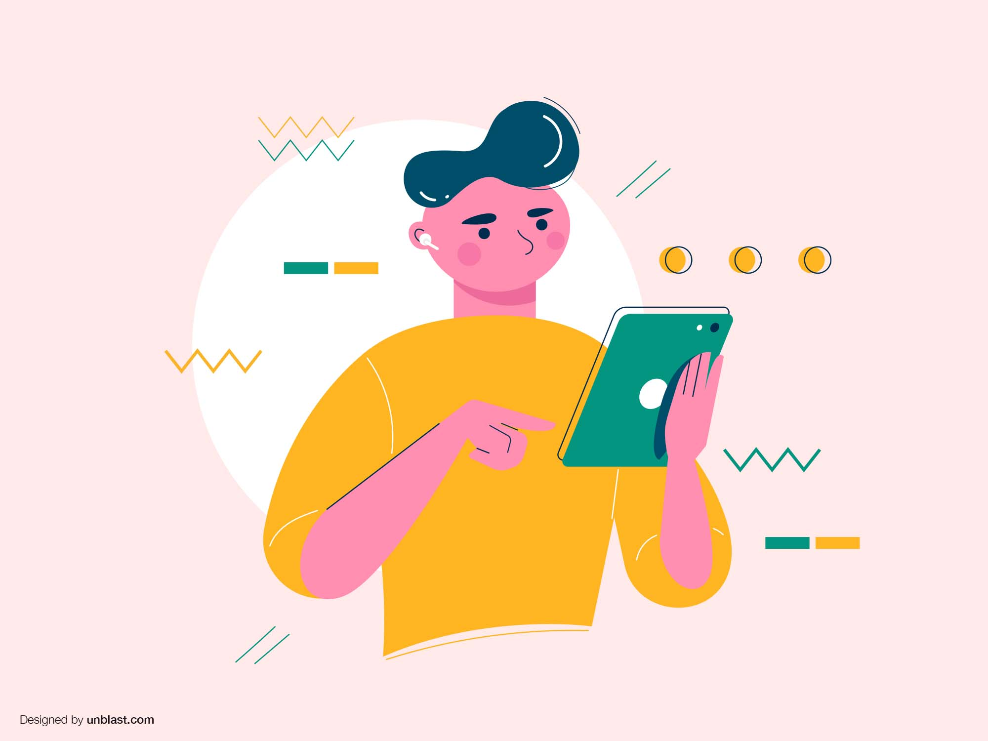 Boy with Tablet Illustration