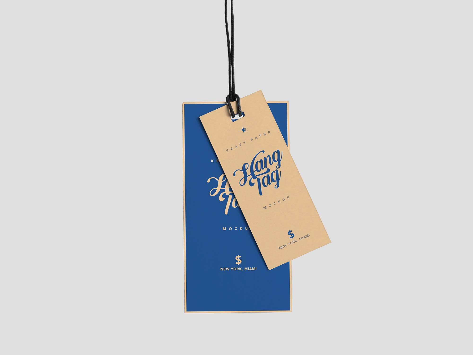 Dual Cloth Hanging Tag Mockup