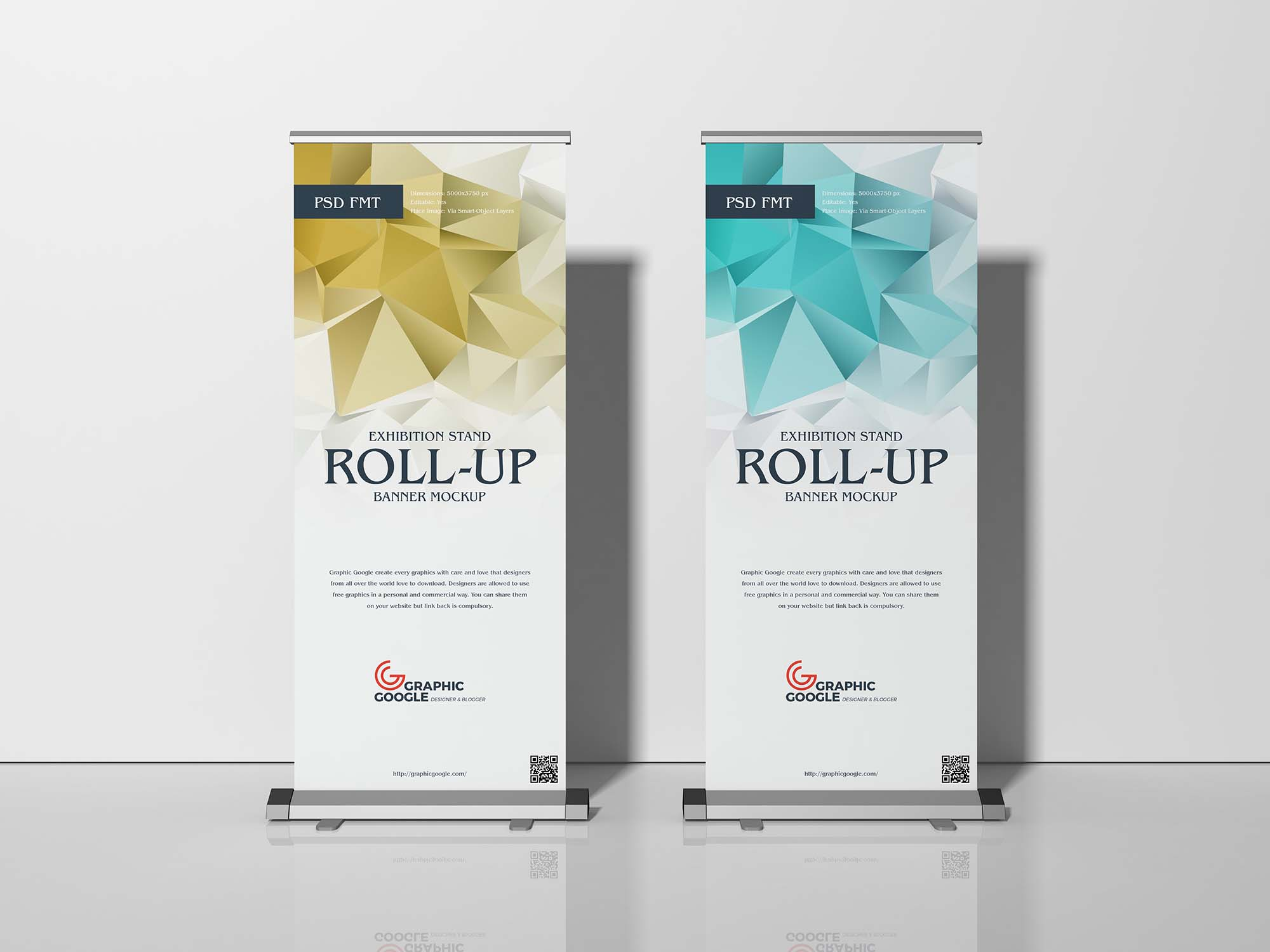 Free Exhibition Stand Roll Up Banner Mockup Psd