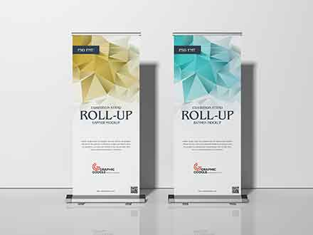 Exhibition Stand Roll-Up Banner Mockup