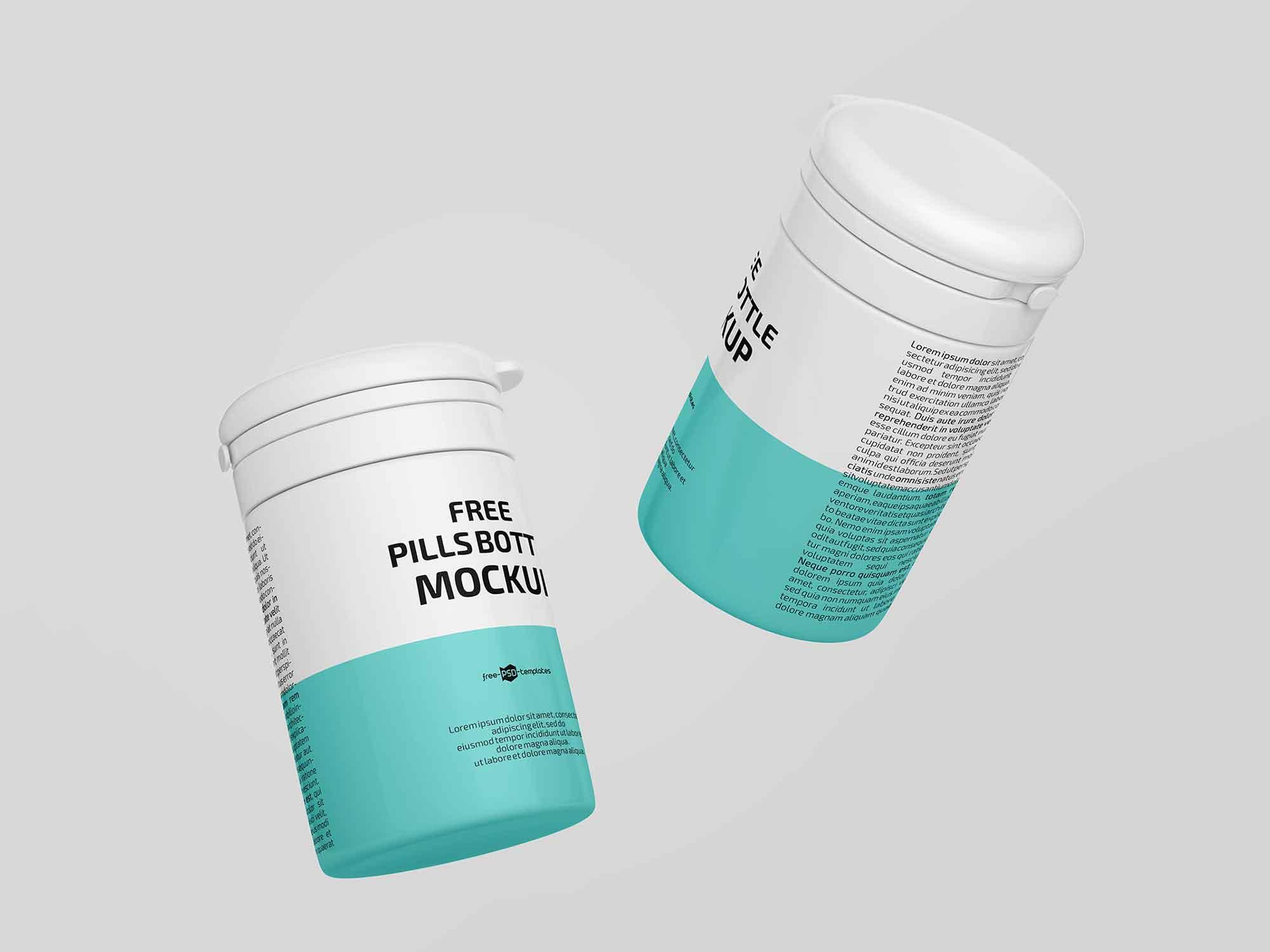 Floating Pill Bottles Mockup