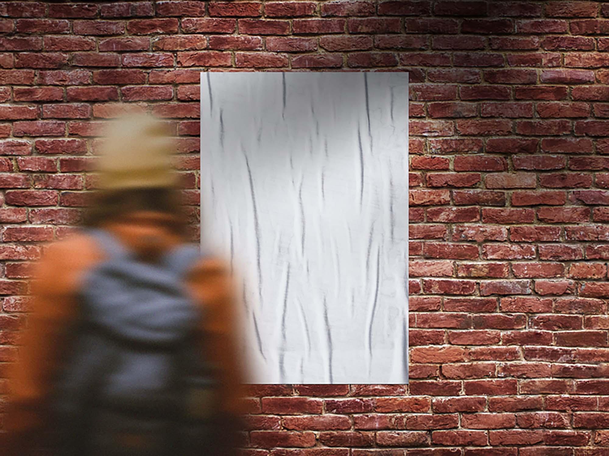 Outdoor Bricks Wall Poster Mockup 2