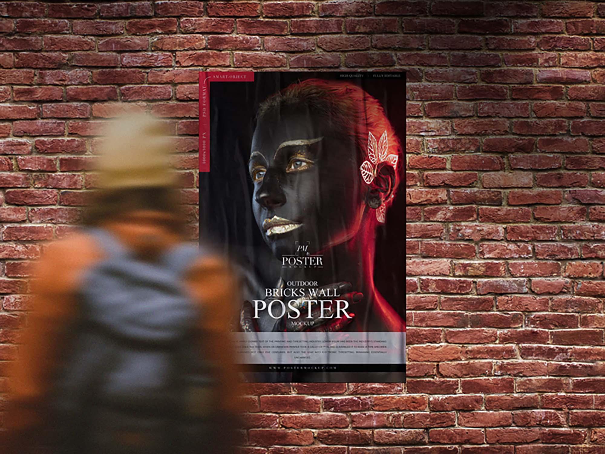 Outdoor Bricks Wall Poster Mockup