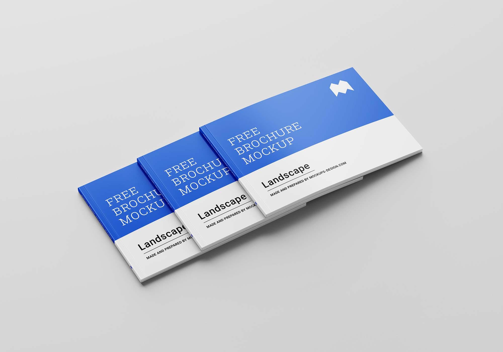 Perfect Binding Landscape Brochure Mockup 3