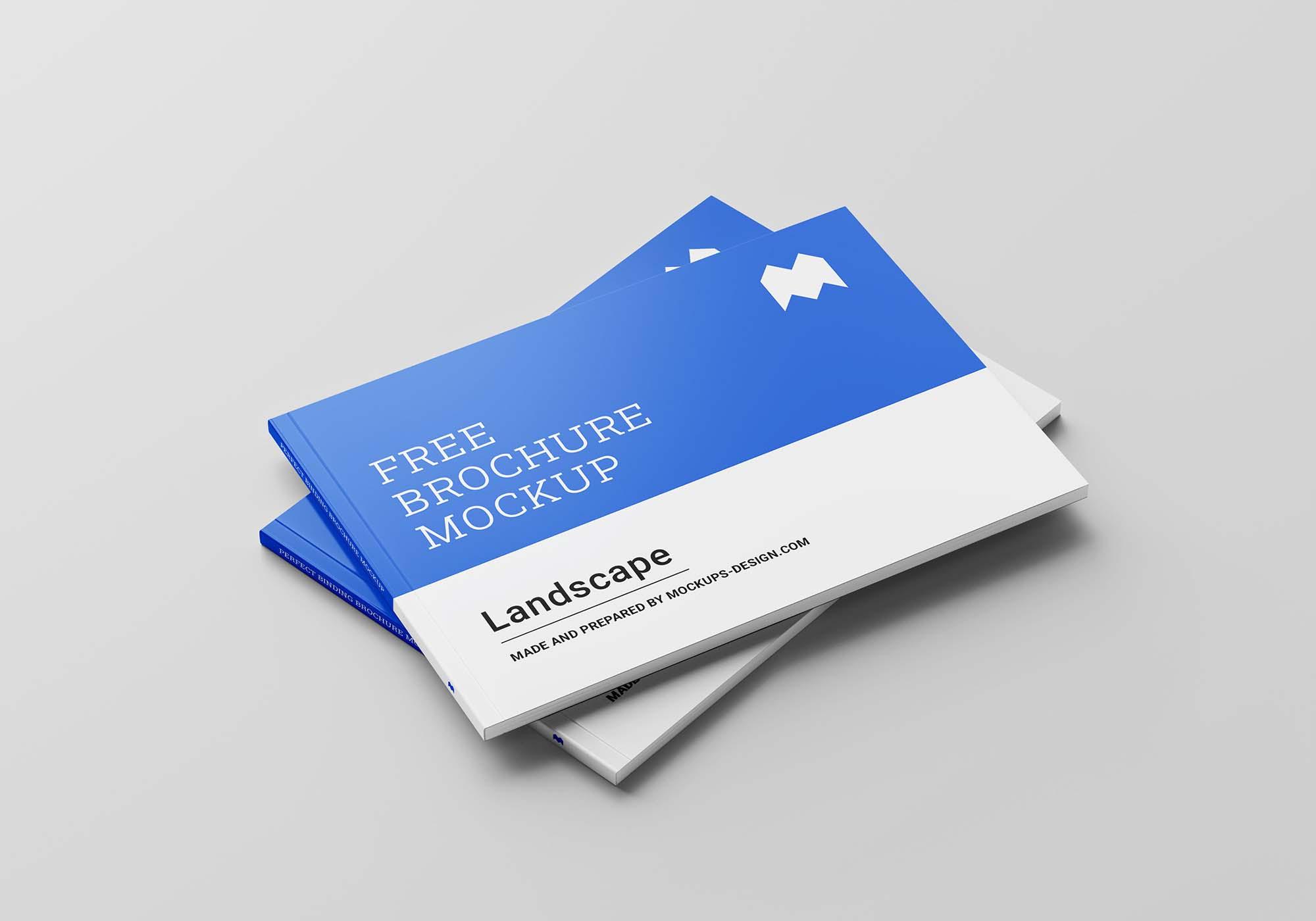 Perfect Binding Landscape Brochure Mockup 6