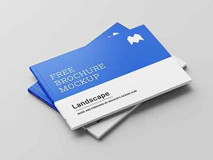 Perfect Binding Landscape Brochure Mockup