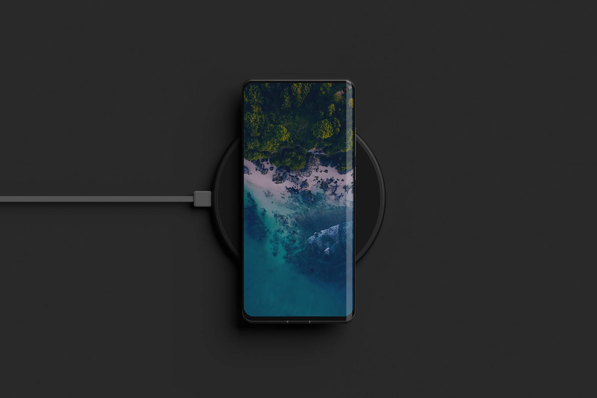 Phone on Wireless Charger Mockup