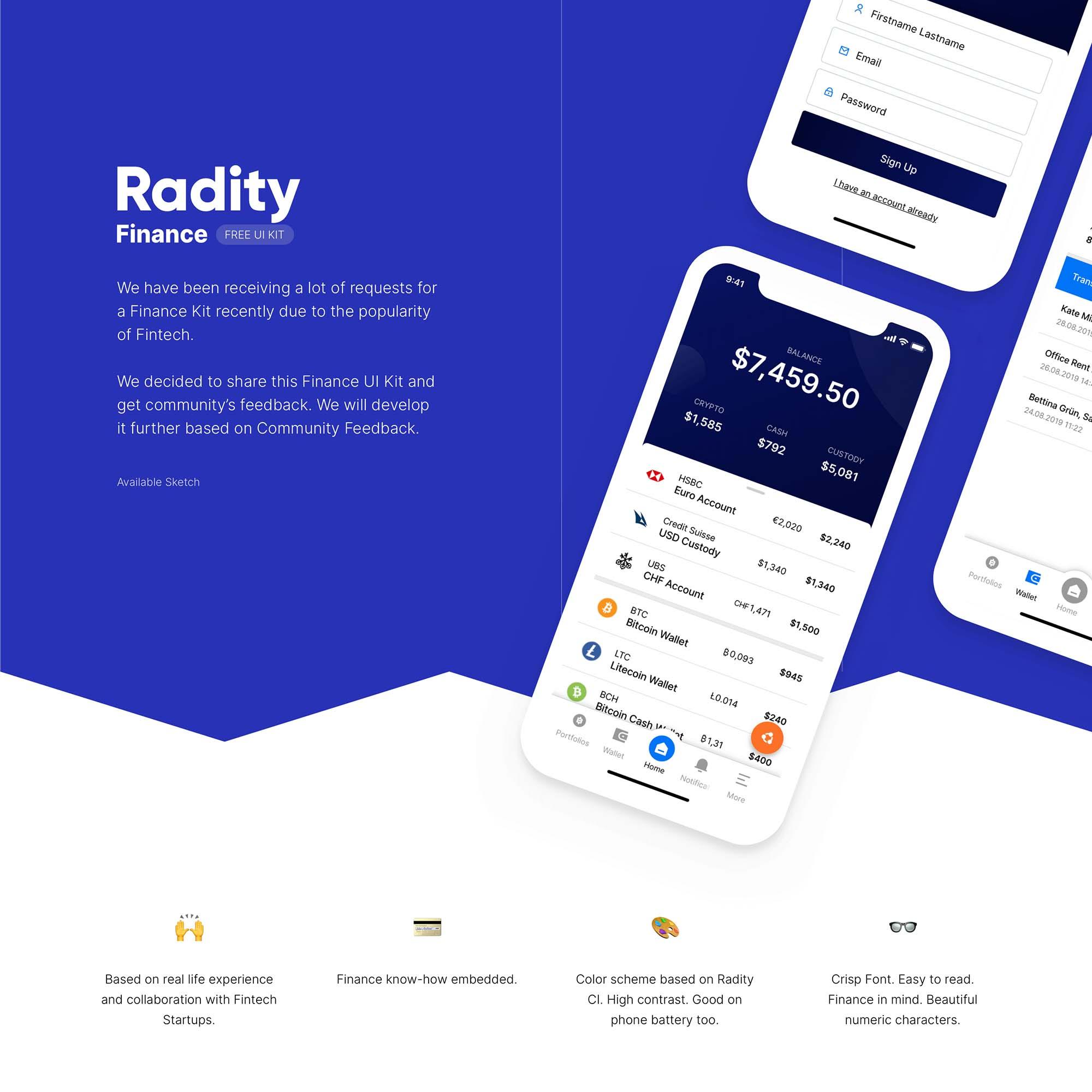 Radity Finance UI Kit
