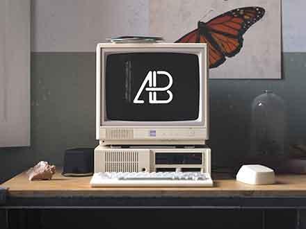 Retro IBM Desktop Mockup