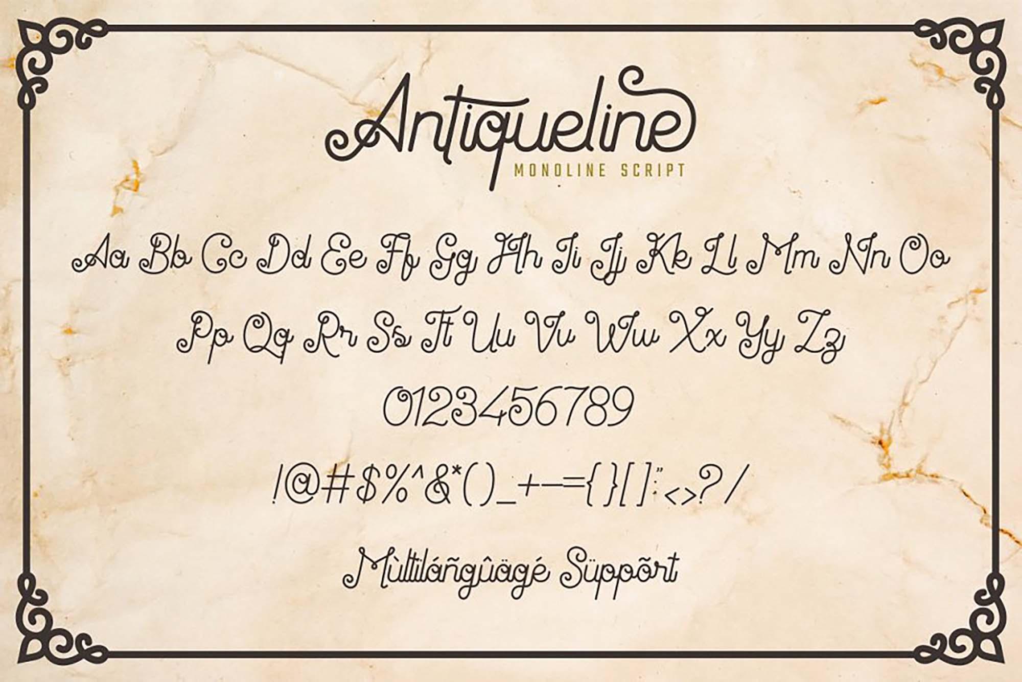 Antiqueline Script Font Letters