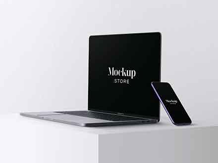 Apple iPhone 11 & Macbook Pro Mockup