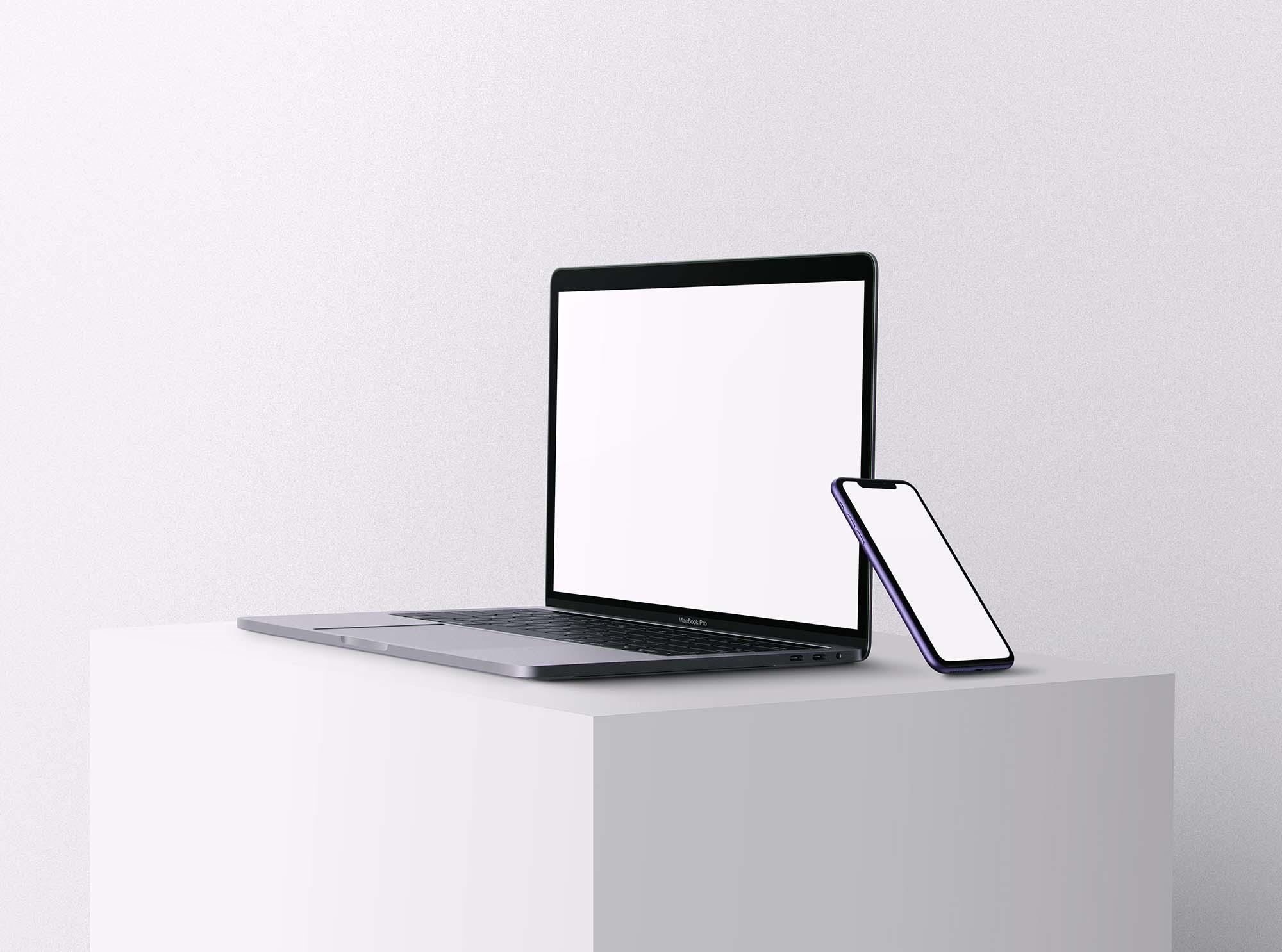 Apple iPhone 11 & Macbook Pro Mockup 2