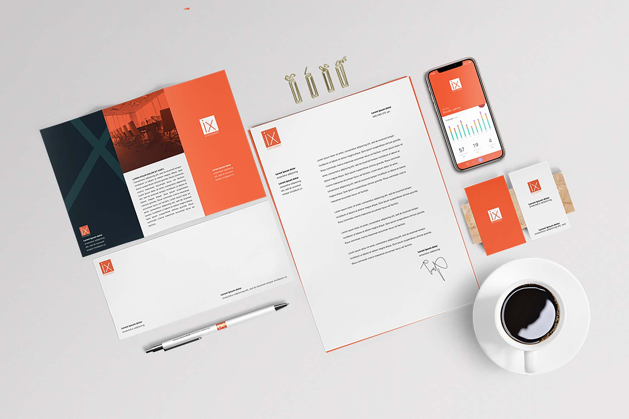 Bird's-eye View Stationery Mockup