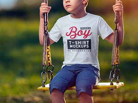 Boy Wearing T-Shirt Mockup
