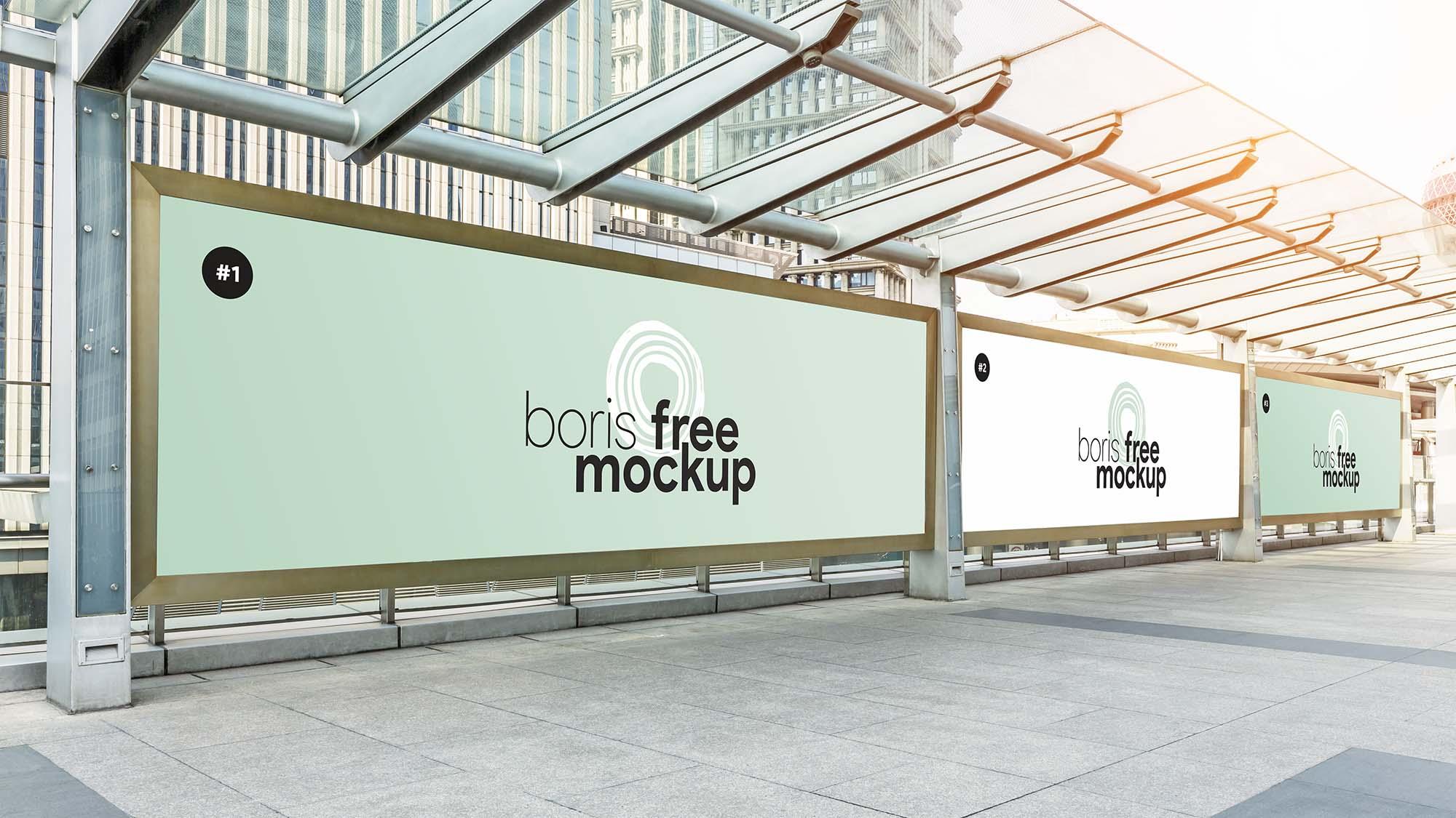 Bus Stop Advertising Poster Mockup