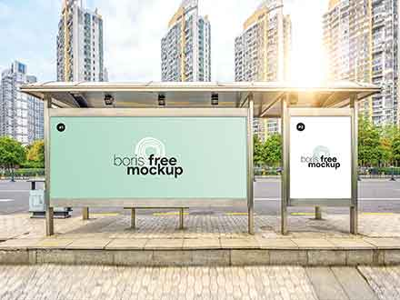 Bus Stop Billboards Mockup