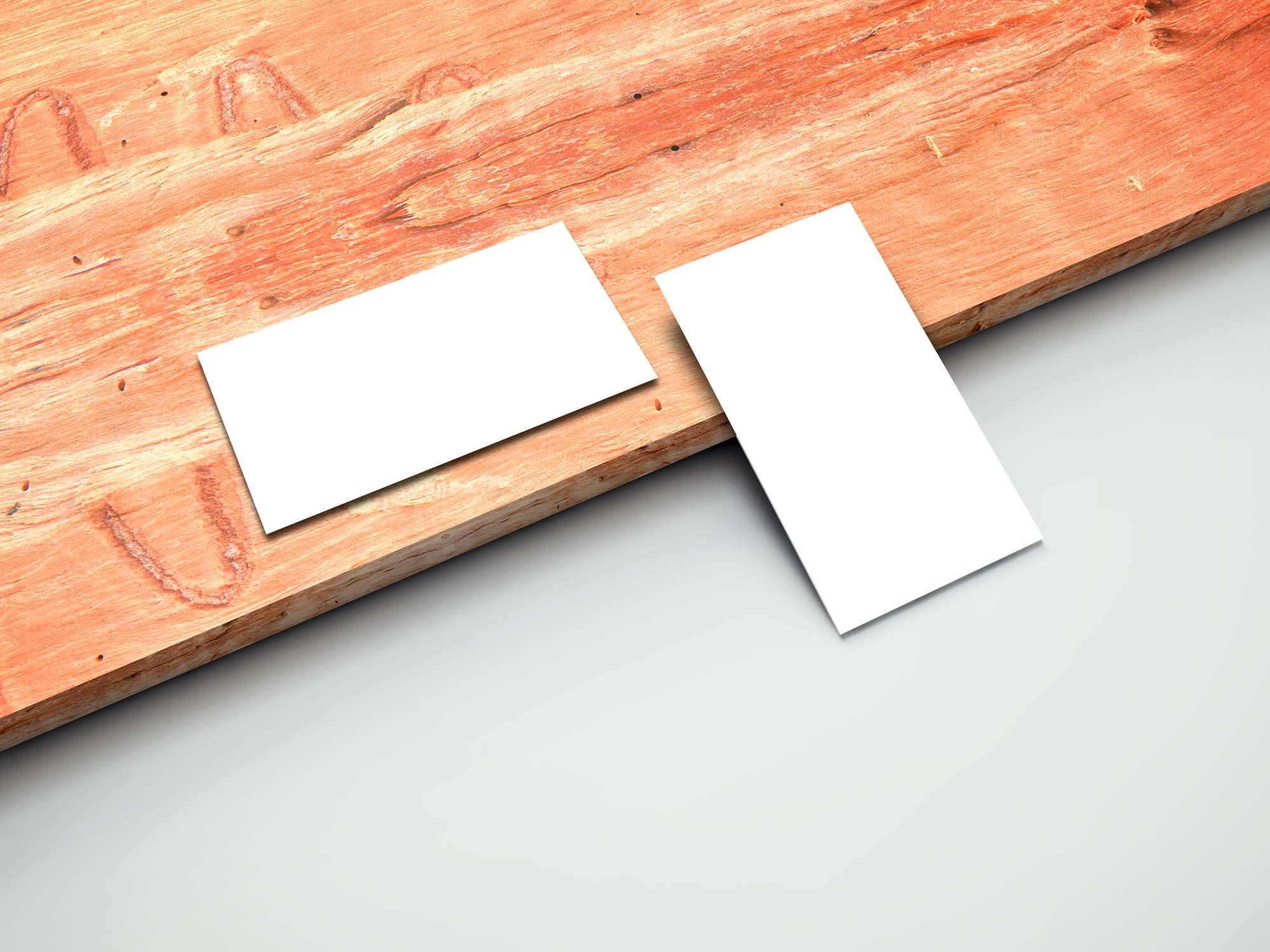Business Cards on Plank Mockup 2
