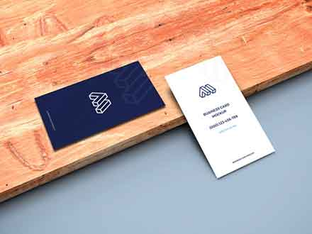 Business Cards on Plank Mockup