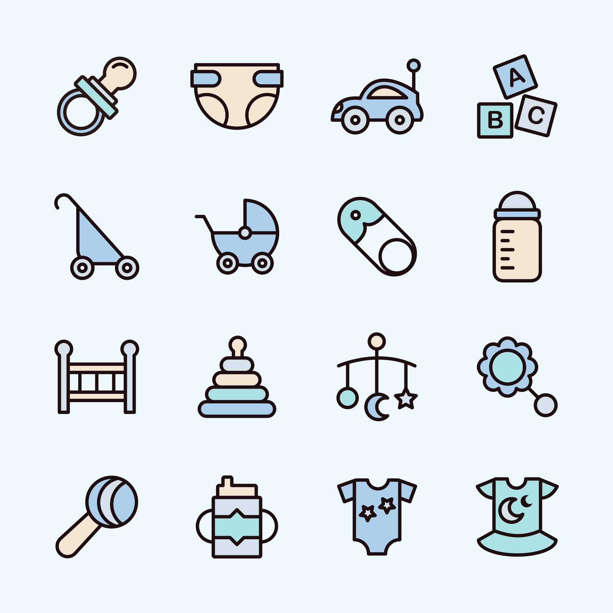 Colored Baby Vector Icons