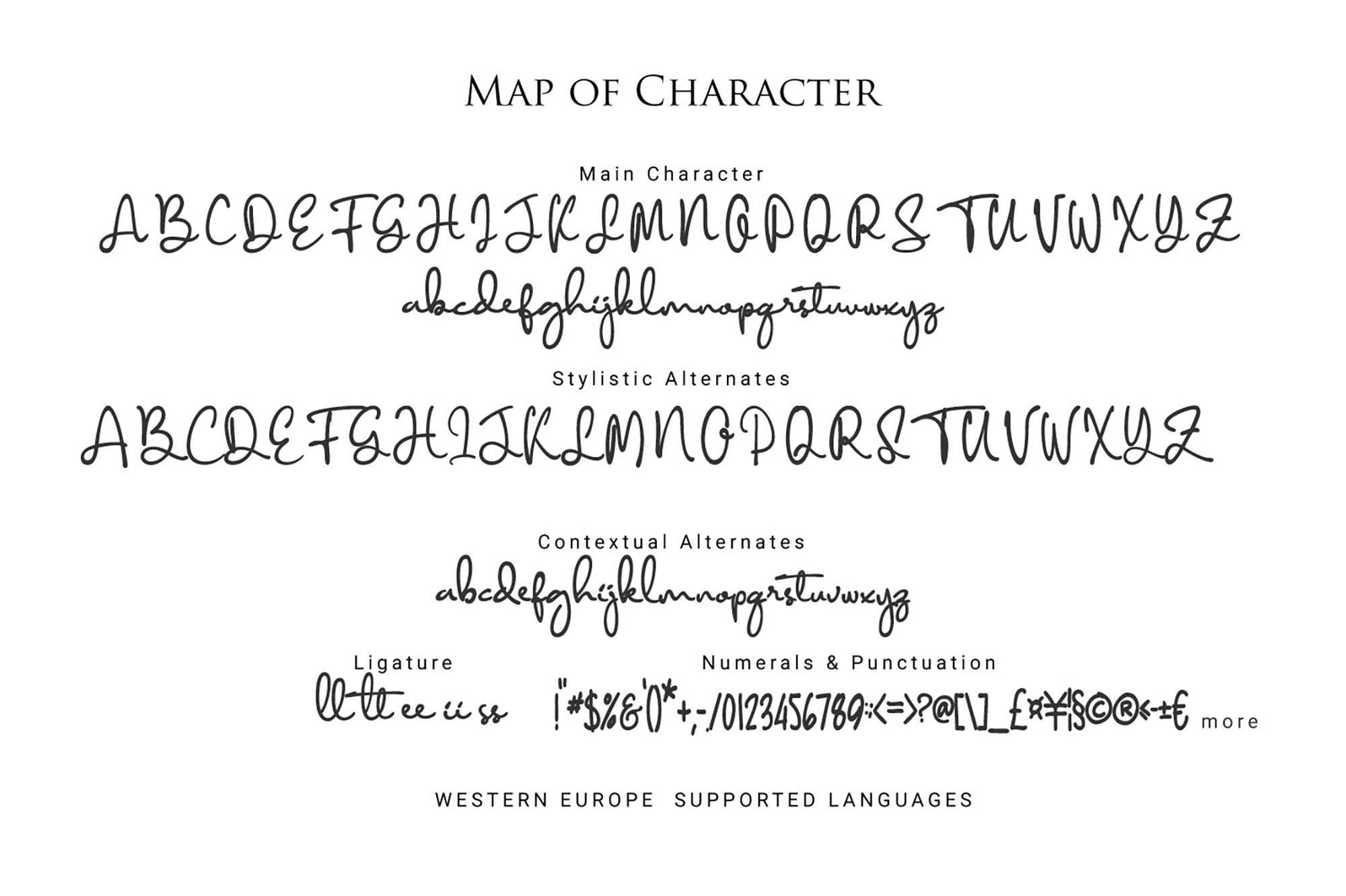 Diamant Handwriting Font Letters