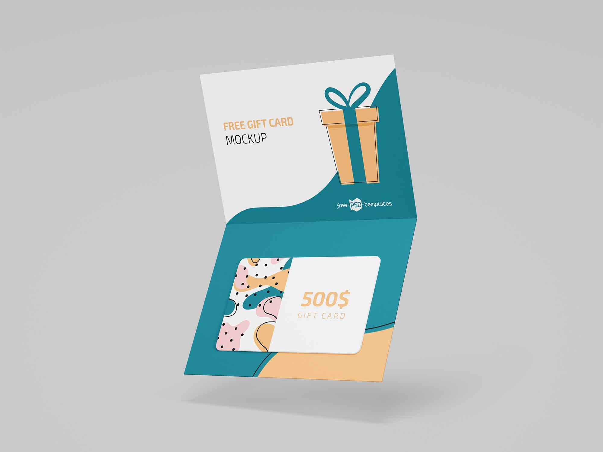 Floating Gift Card Mockup