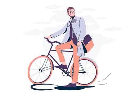 Man with Bike Illustration