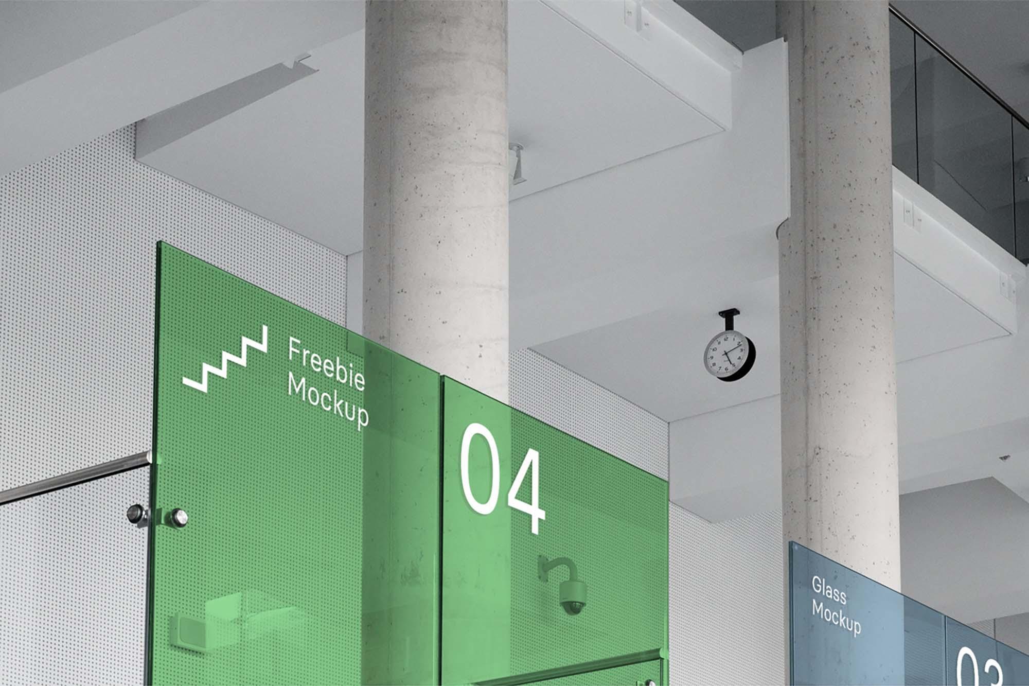 Free Office Glass Branding Mockup Psd