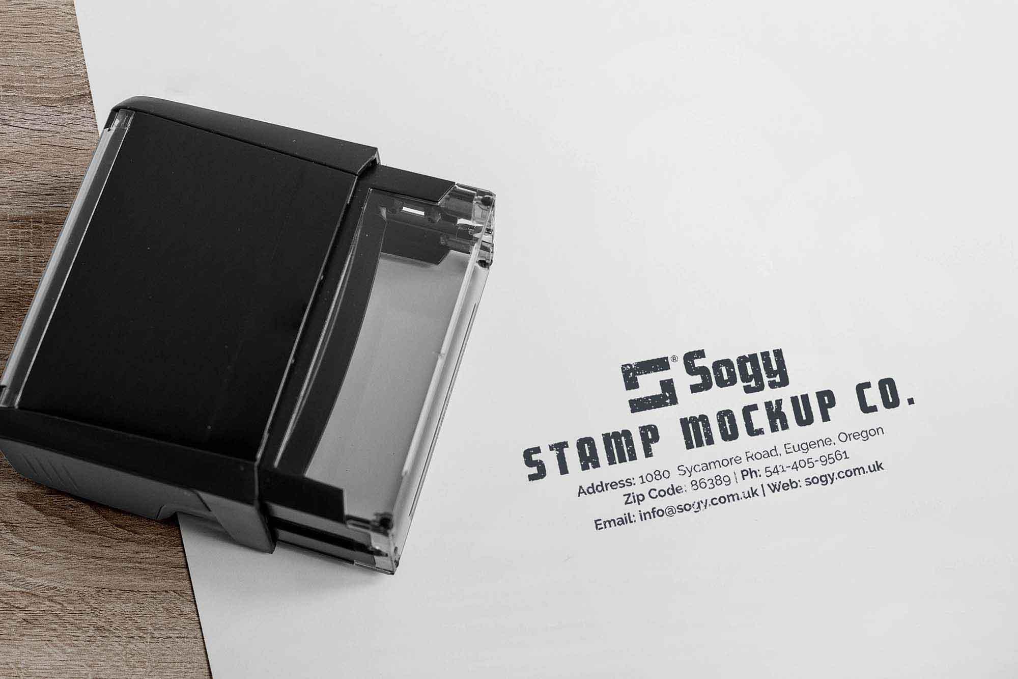 Rectangular Self-Inking Rubber Stamp Mockup