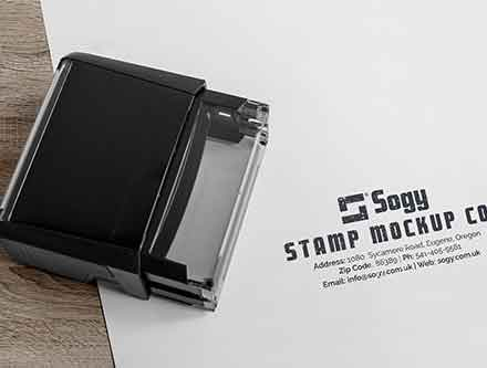 Rectangular Self-Inking Rubber Stamp Mockup