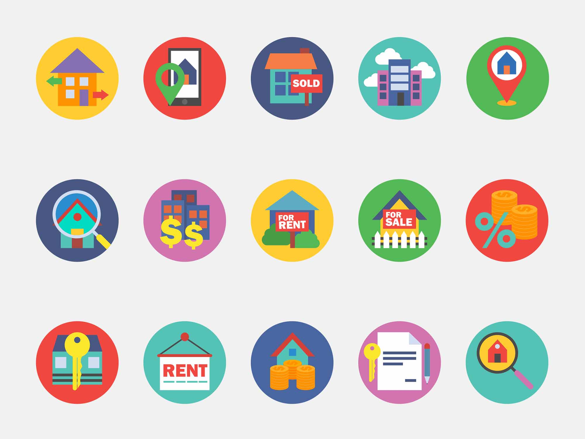 Round Real Estate Vector Icons