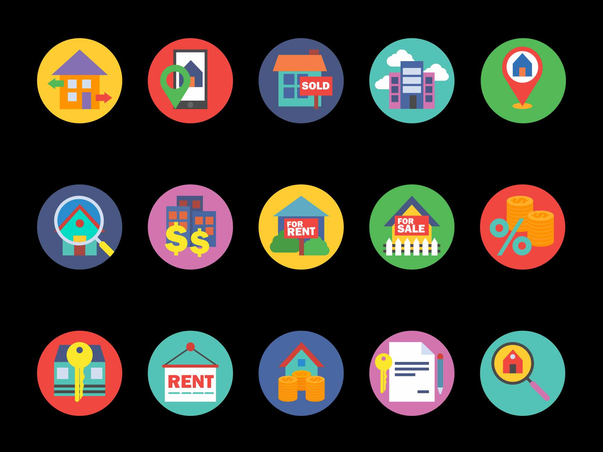 Round Real Estate Vector Icons 2