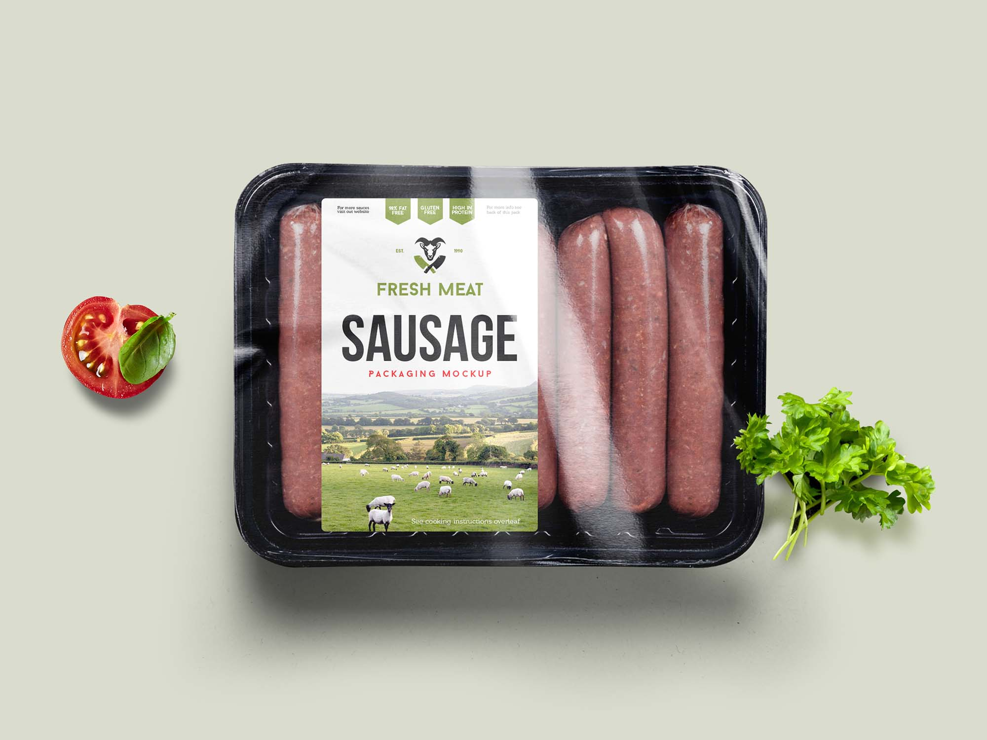 Sausage Food Packaging Mockup