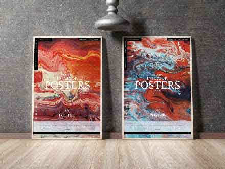 Twin Modern Interior Posters Mockup