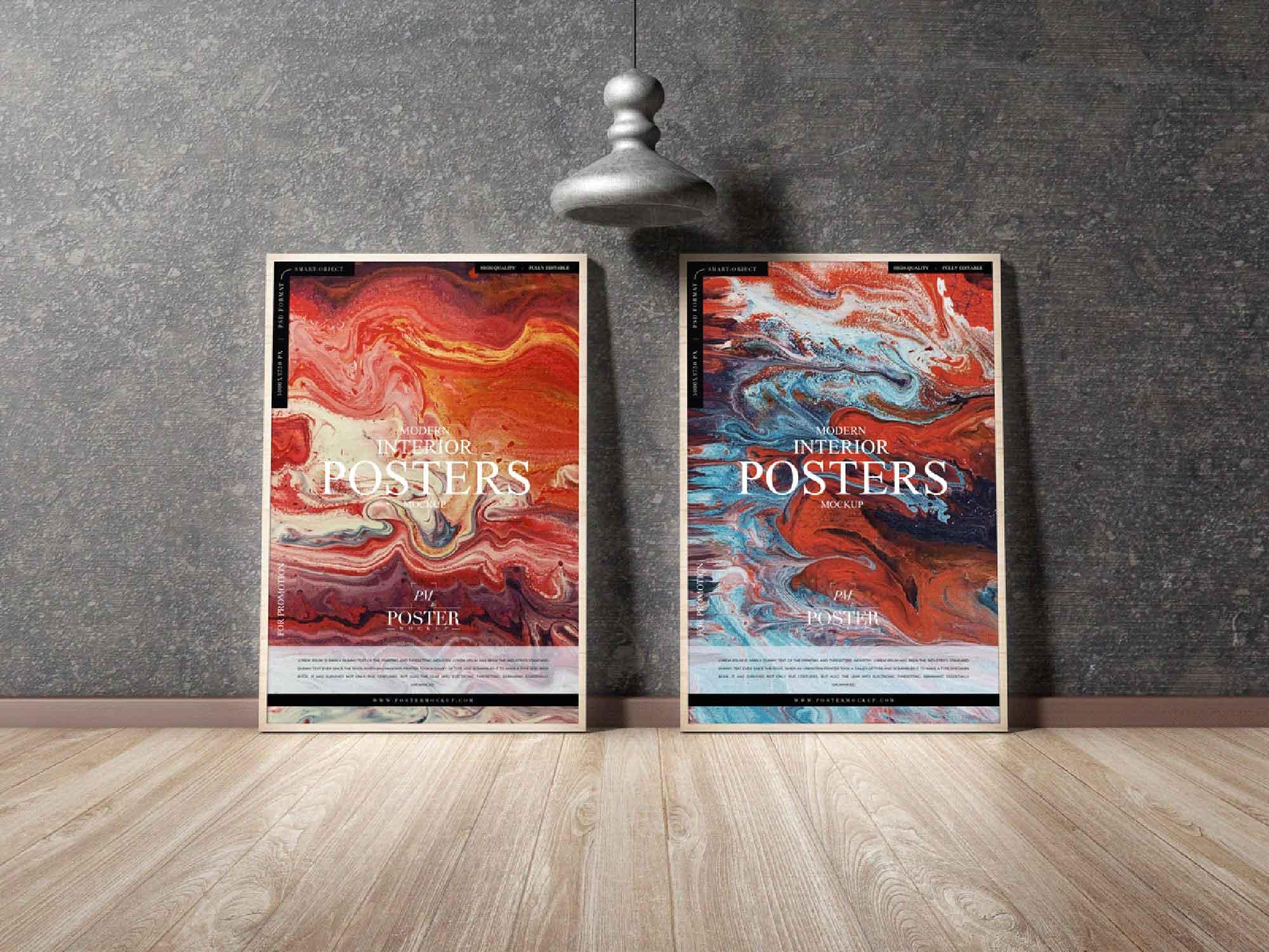 Twin Modern Interior Posters Mockup