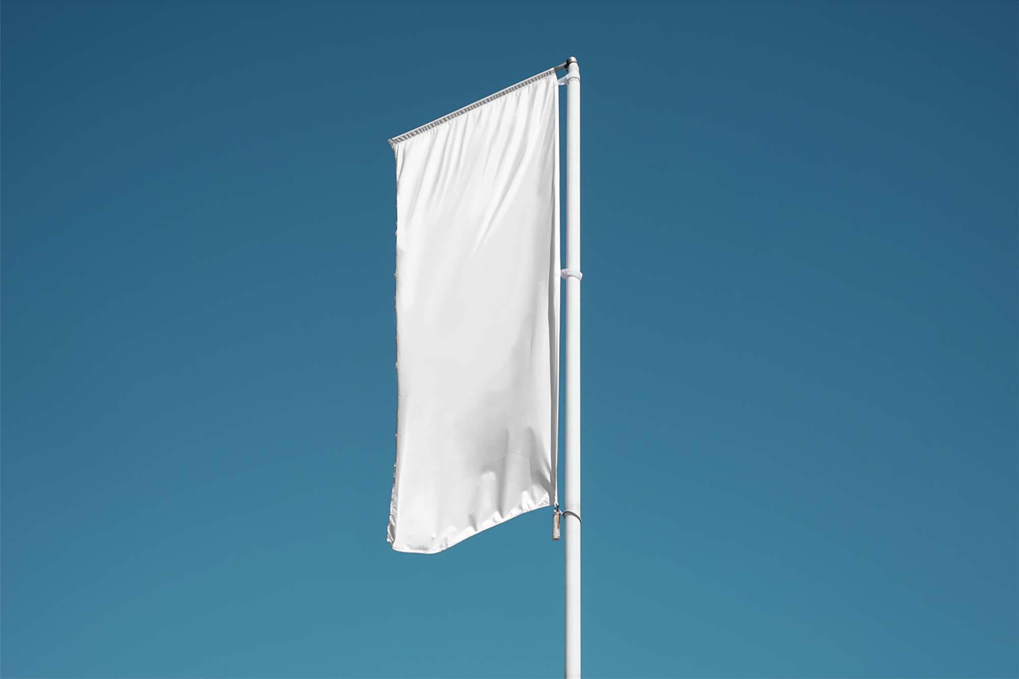 Vertical Realistic Flag Mockup 2
