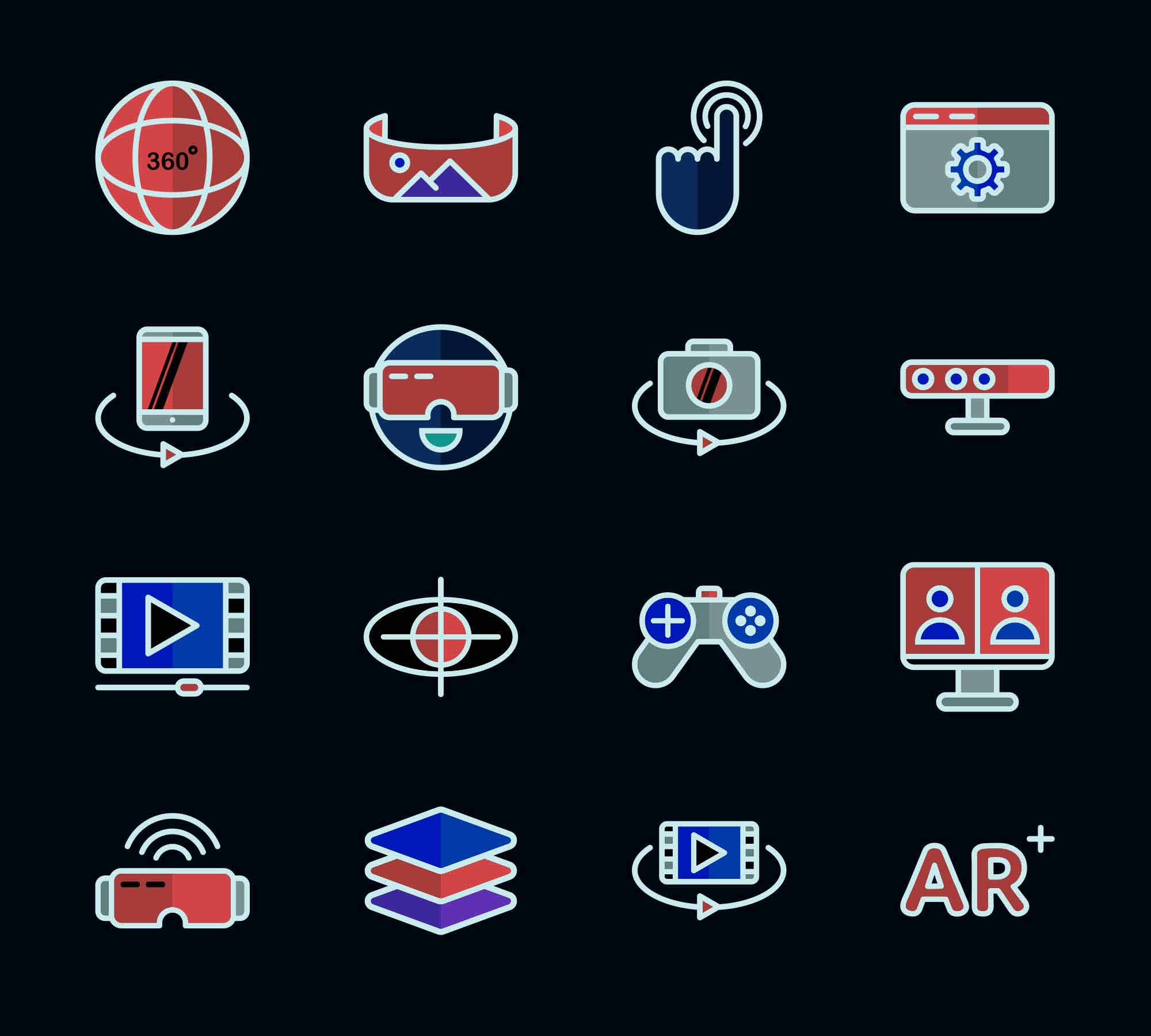 Virtual Reality Vector Icons 2