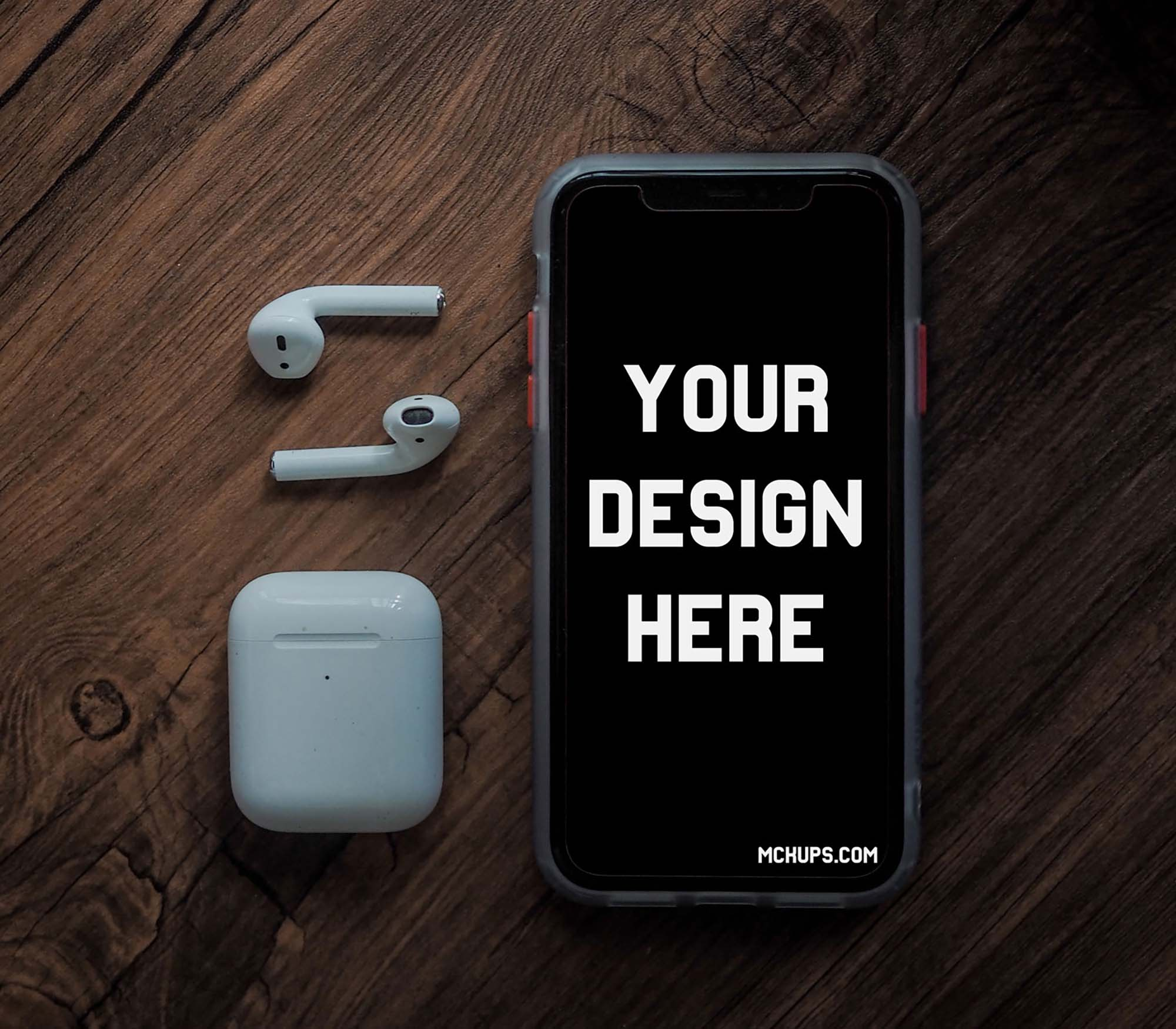 iPhone with AirPods Mockup