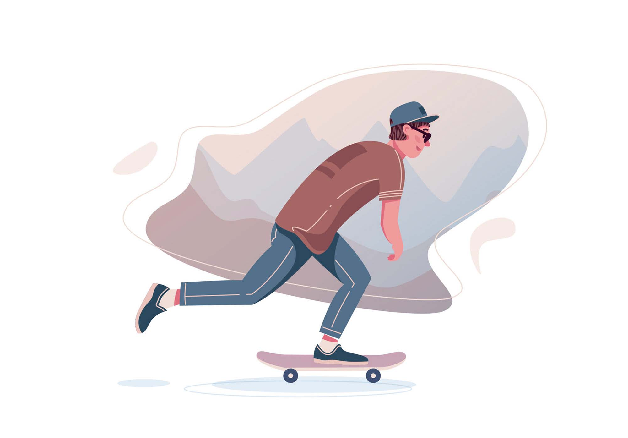 Skater Boy Vector Illustration
