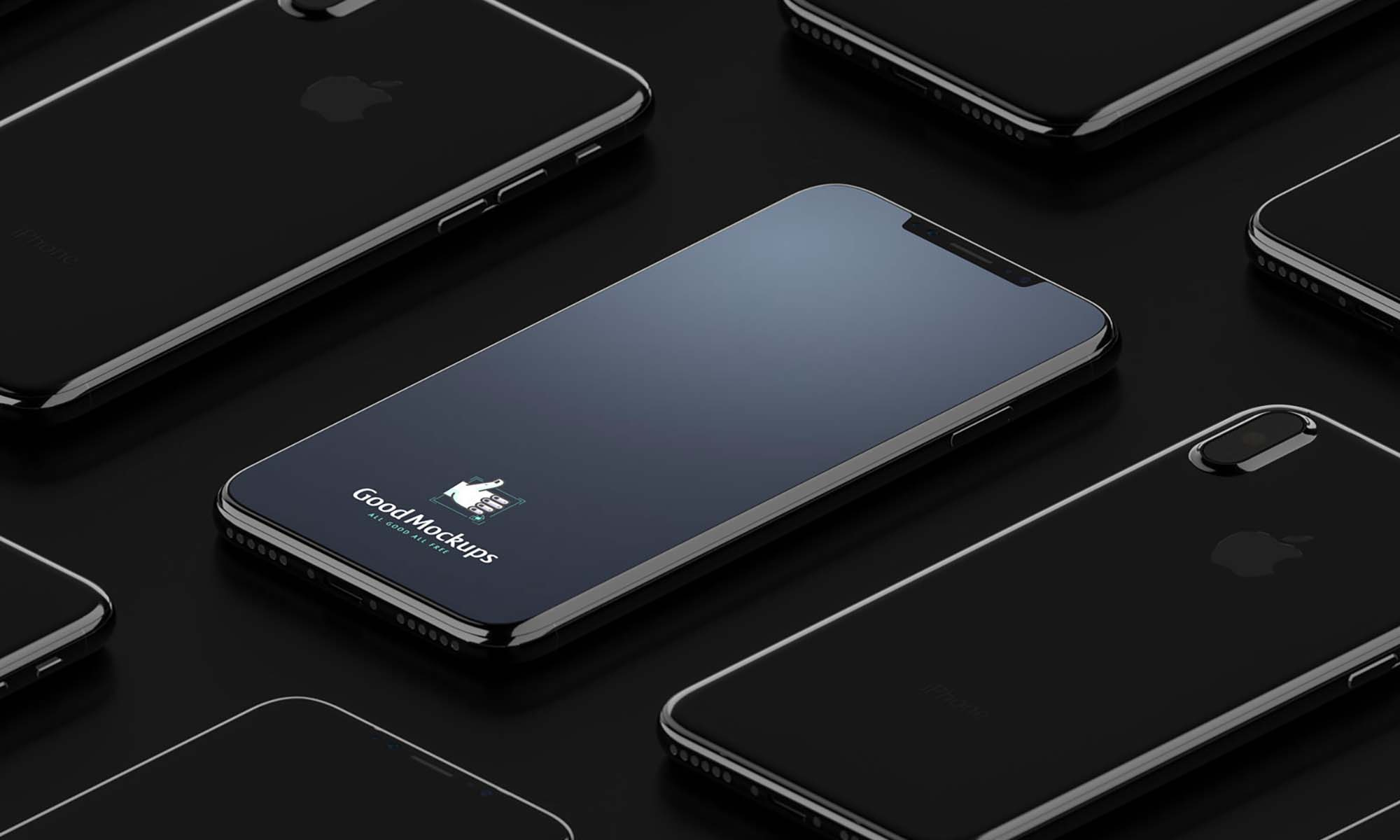 Black Isometric Apple iPhone X Mockup