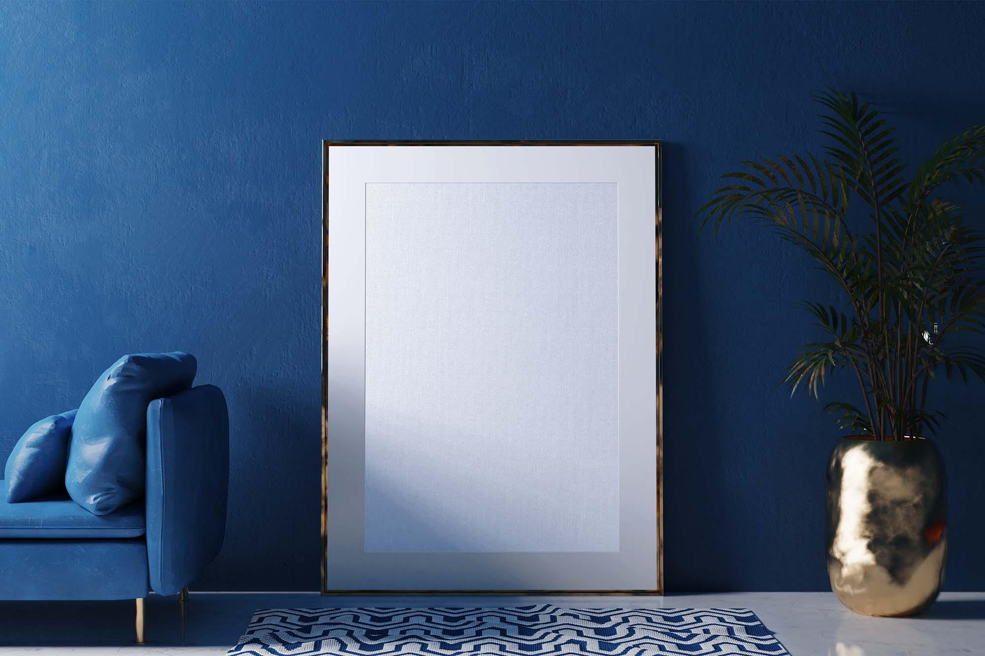 Blue Interior Poster Mockup 2