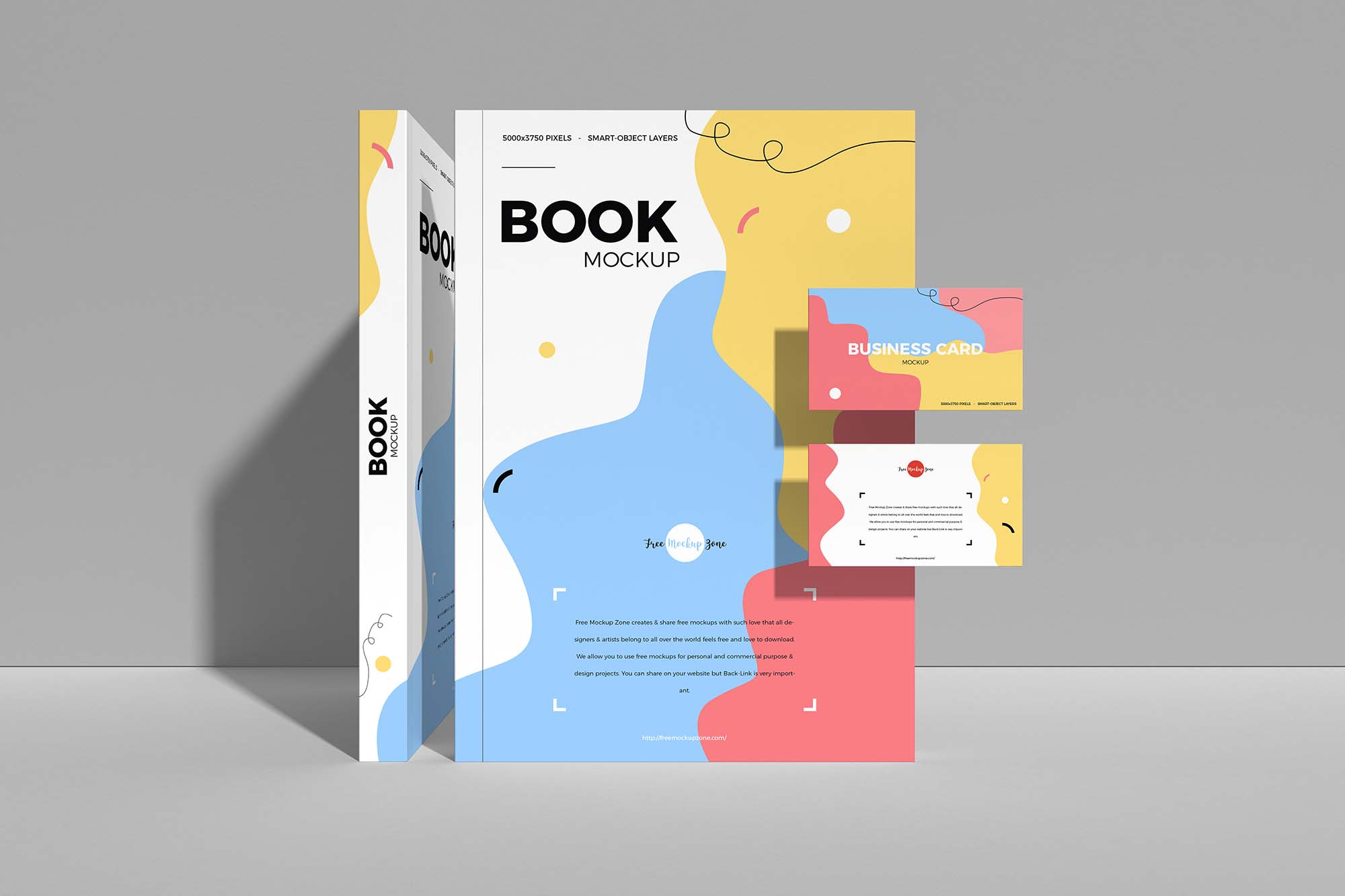 Book with Business Card Mockup