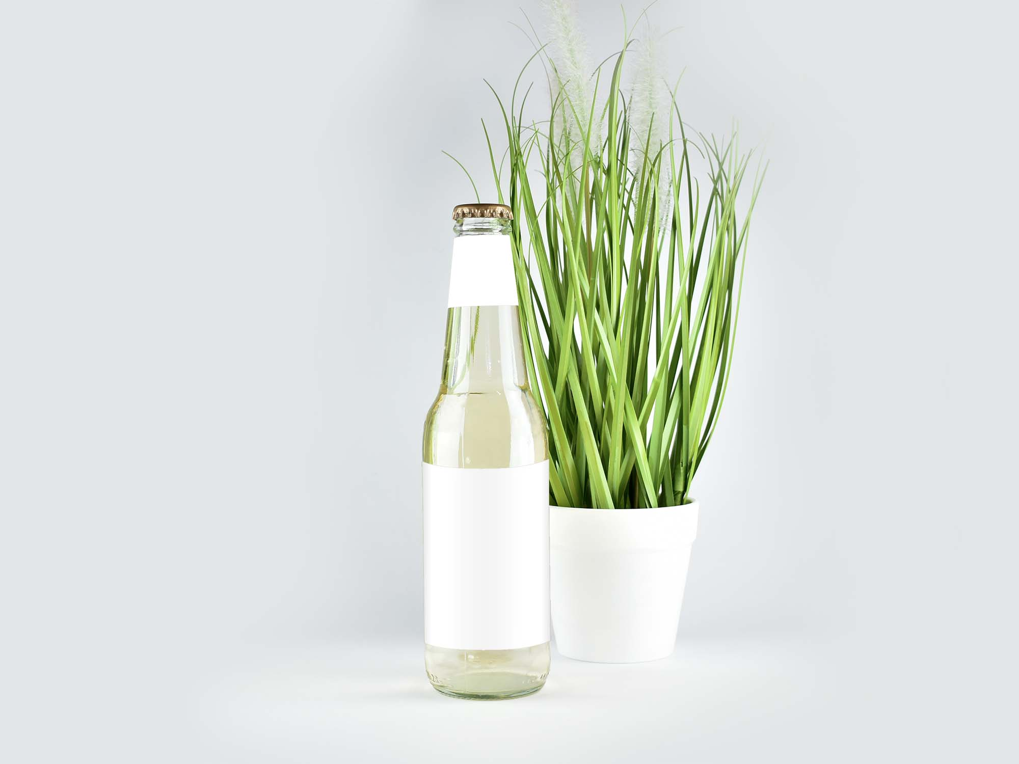 Clear Glass Bottle Mockup 2