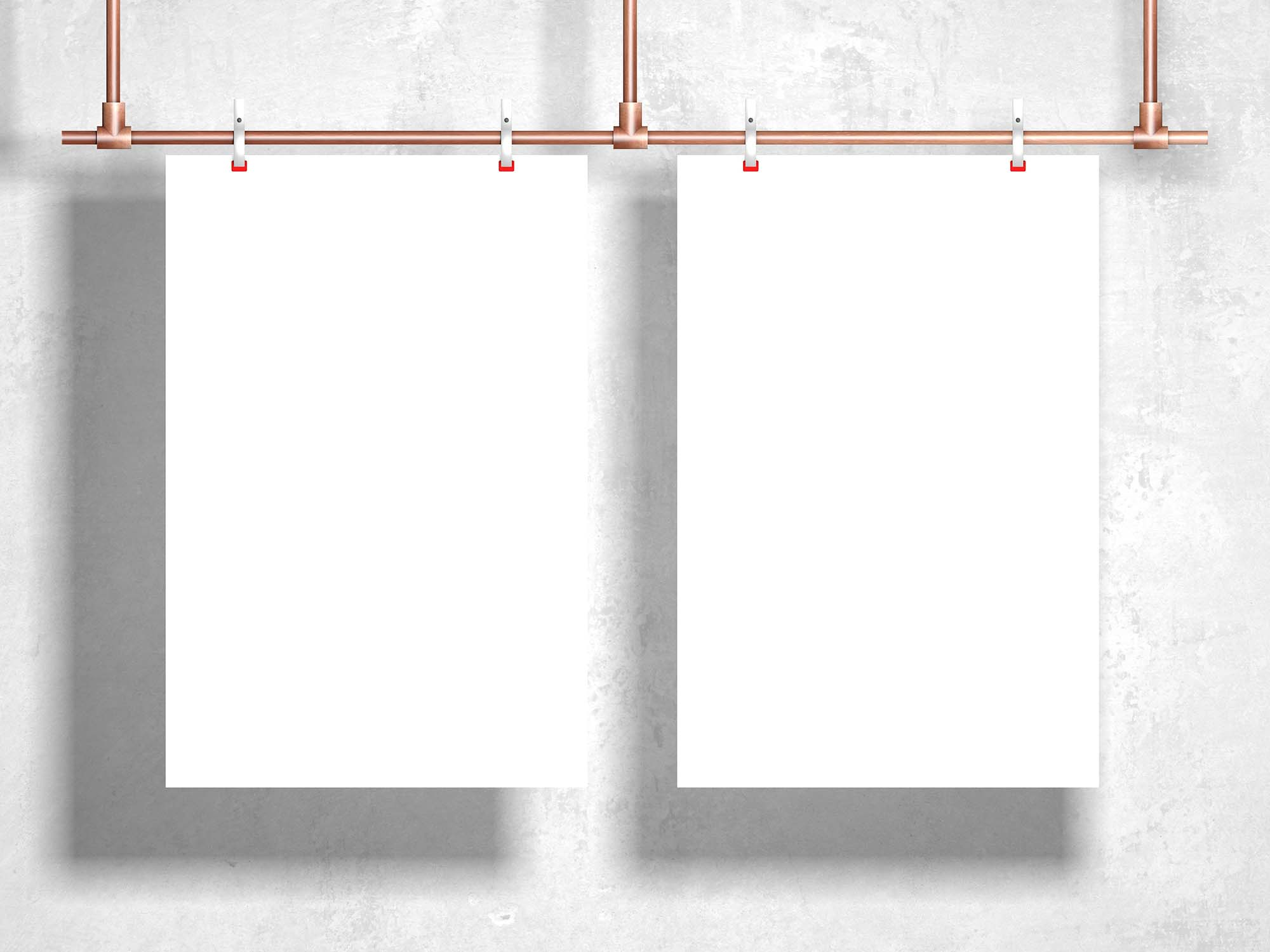Clipped Hanging Poster Mockup 2