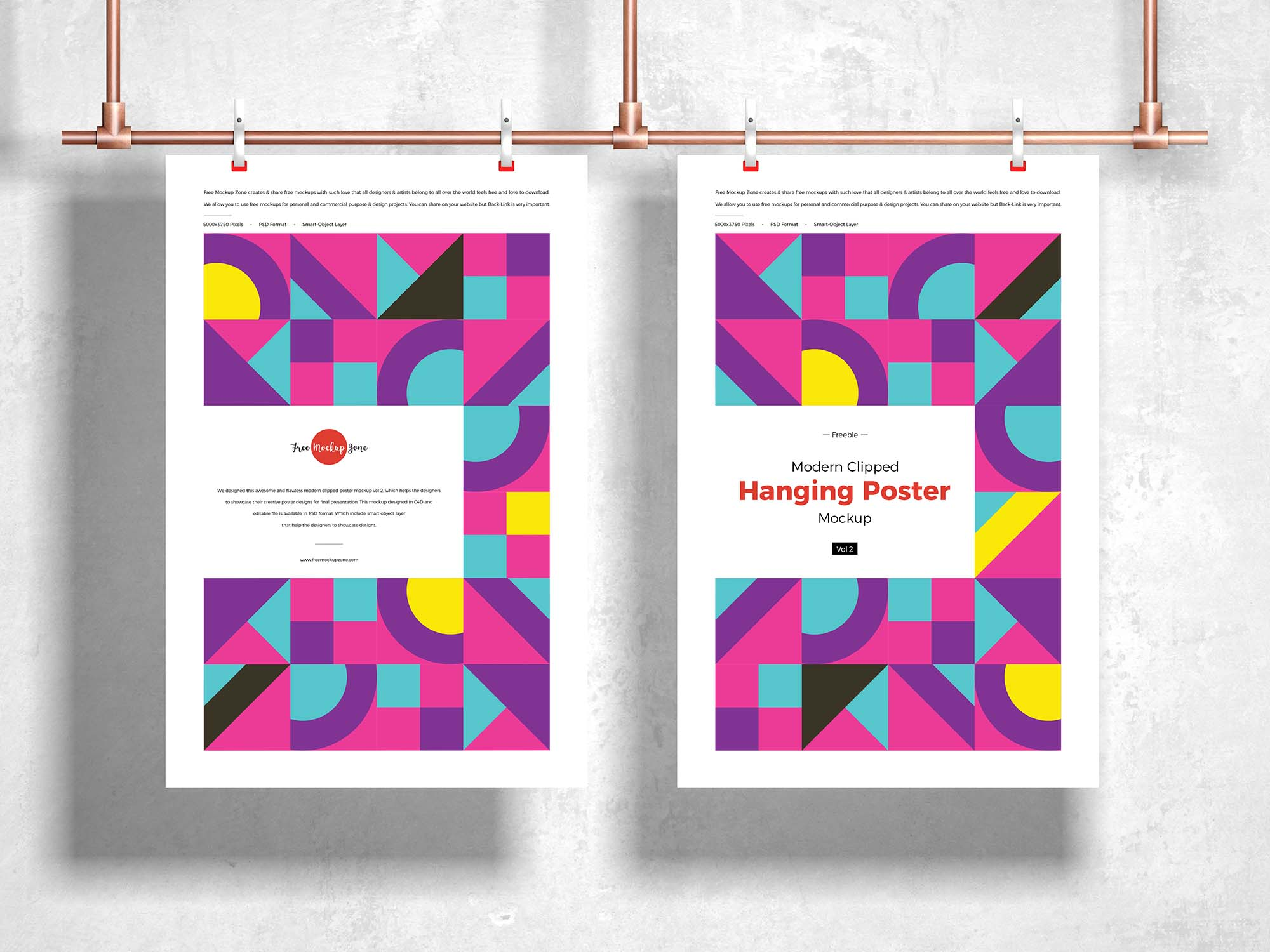 Clipped Hanging Poster Mockup